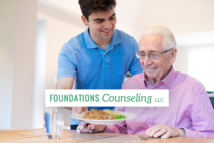 Caregiver serving food