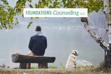 Man sitting on bench next to dog